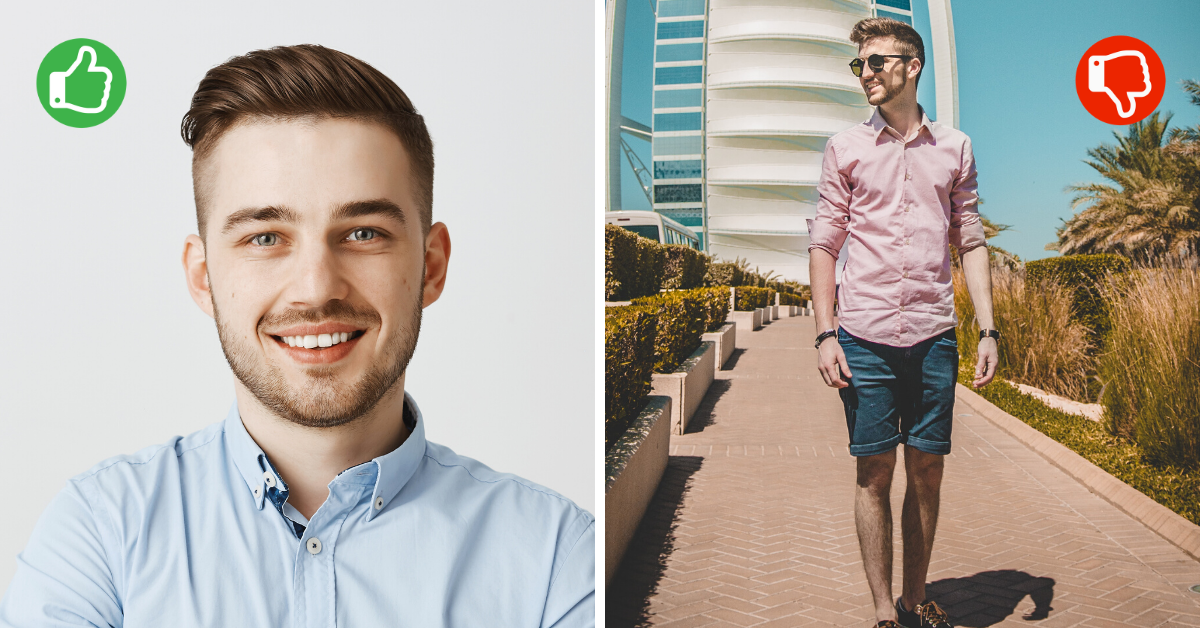 male comparison of good and bad photo for cv