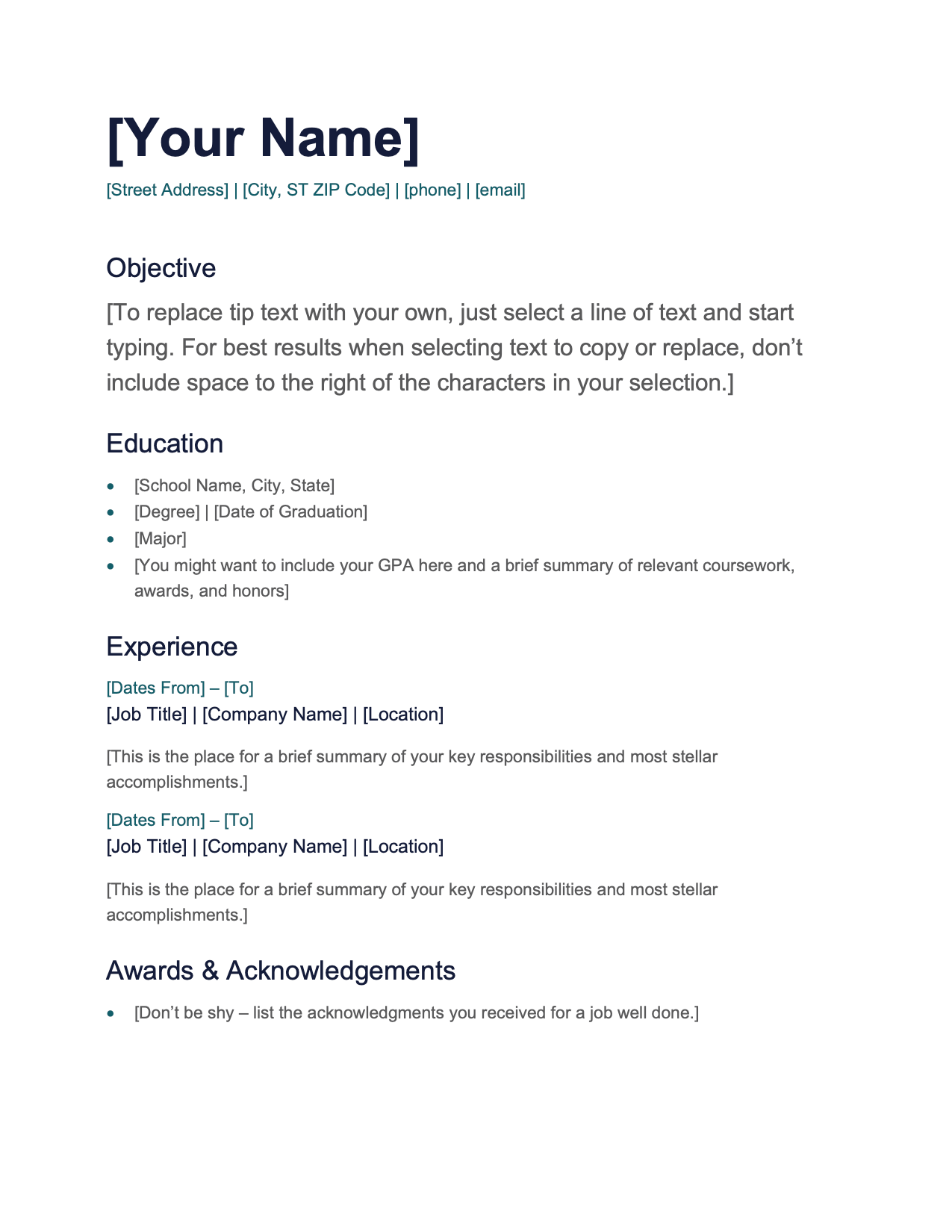 CV Template Option 2