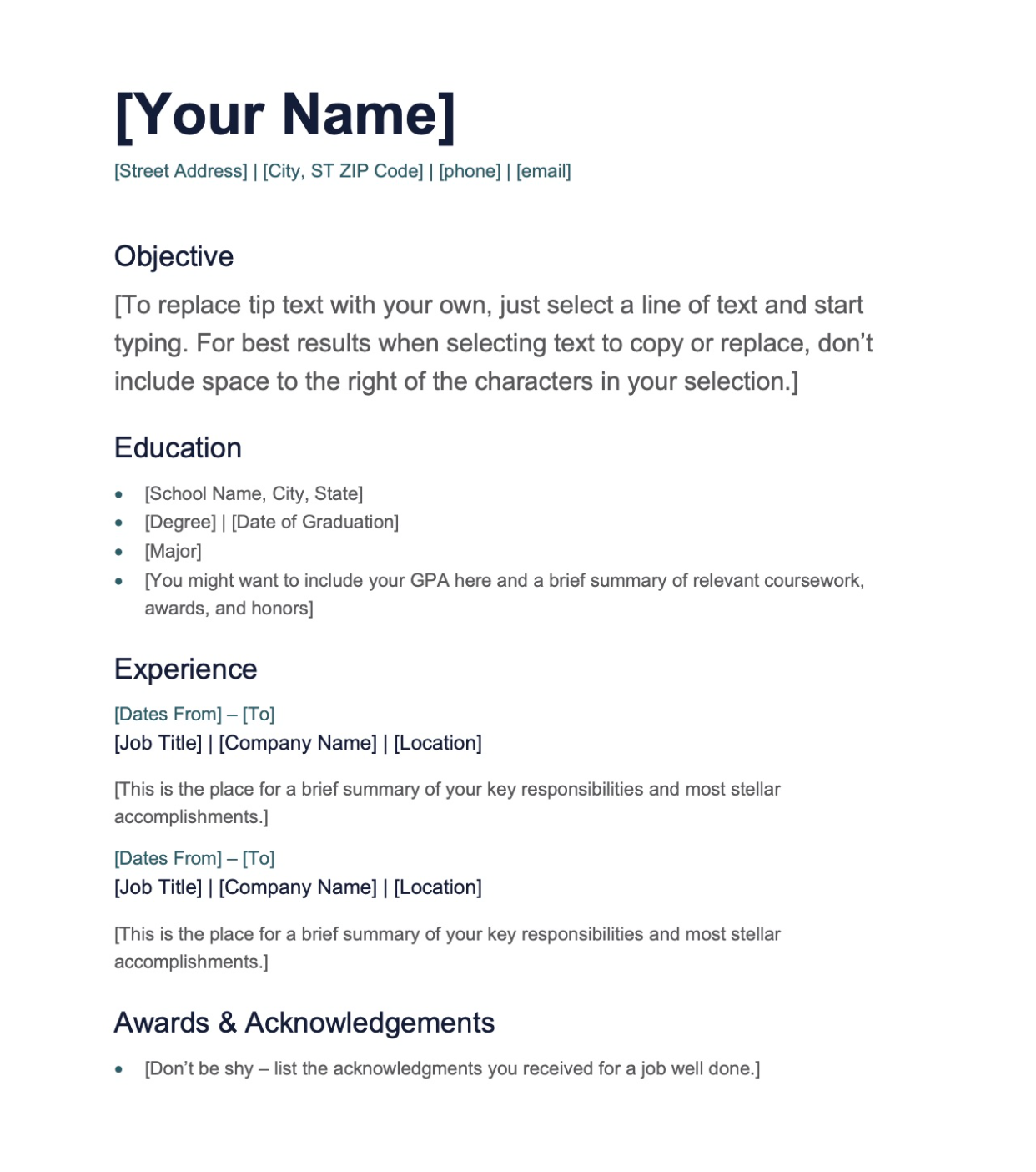 CV Template Option 2