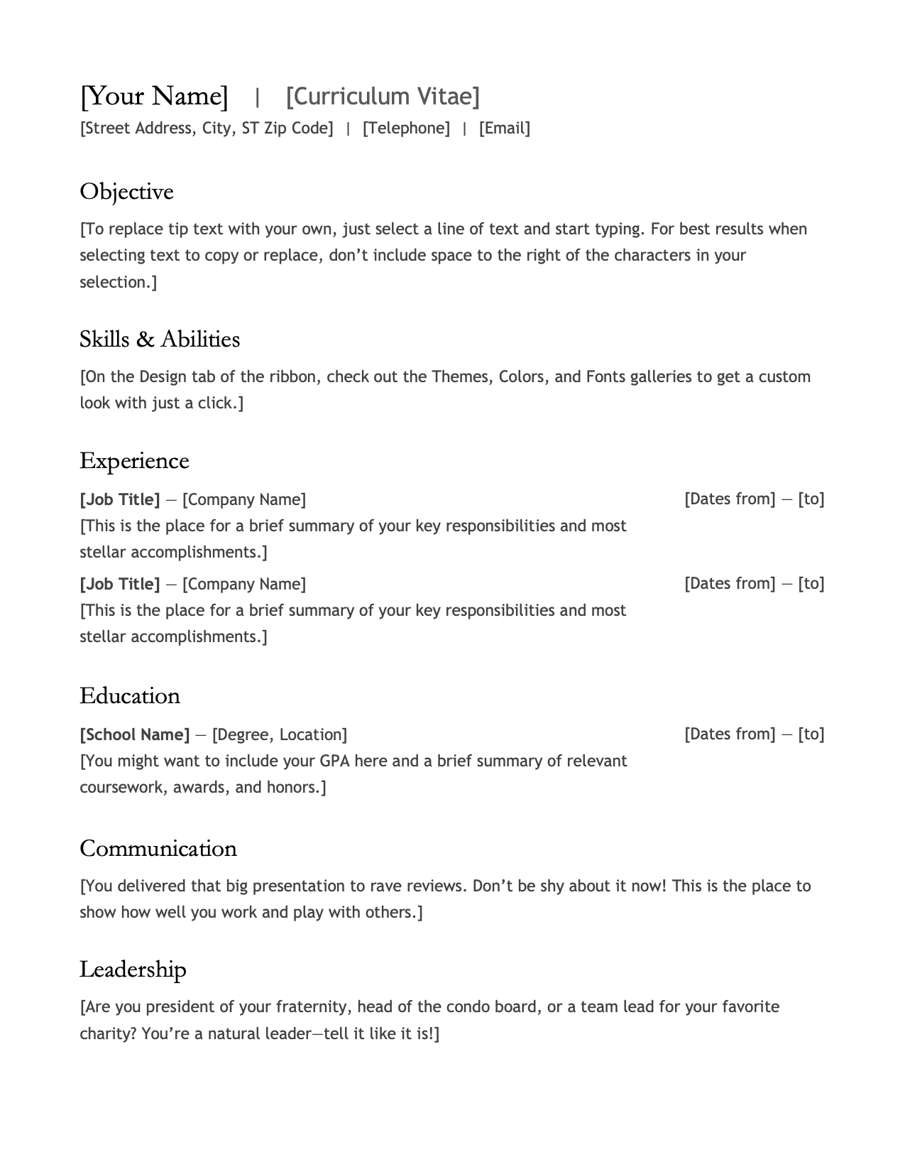 CV Template Option 6