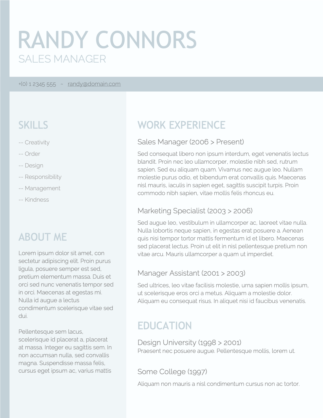CV Template Option 8