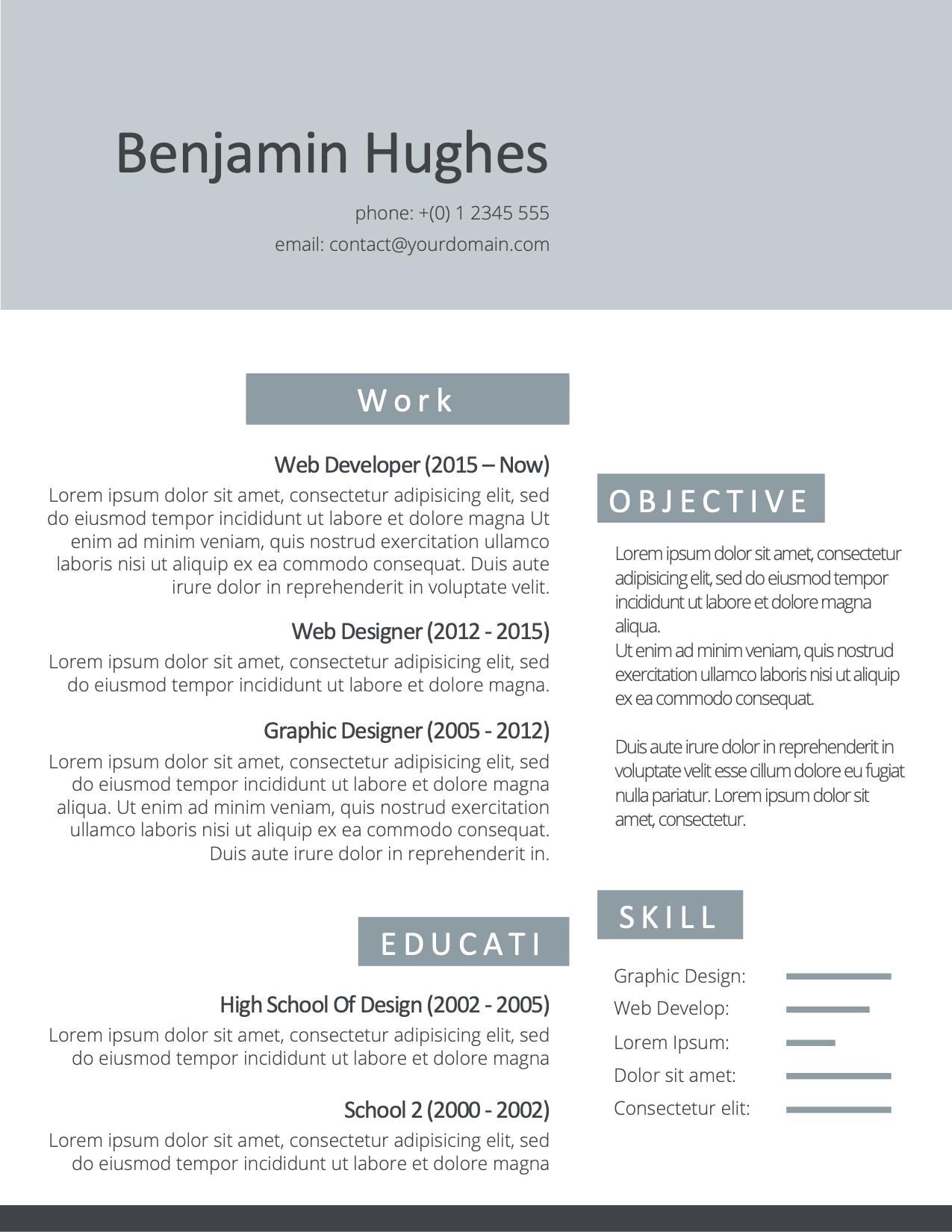 CV Template Option 4