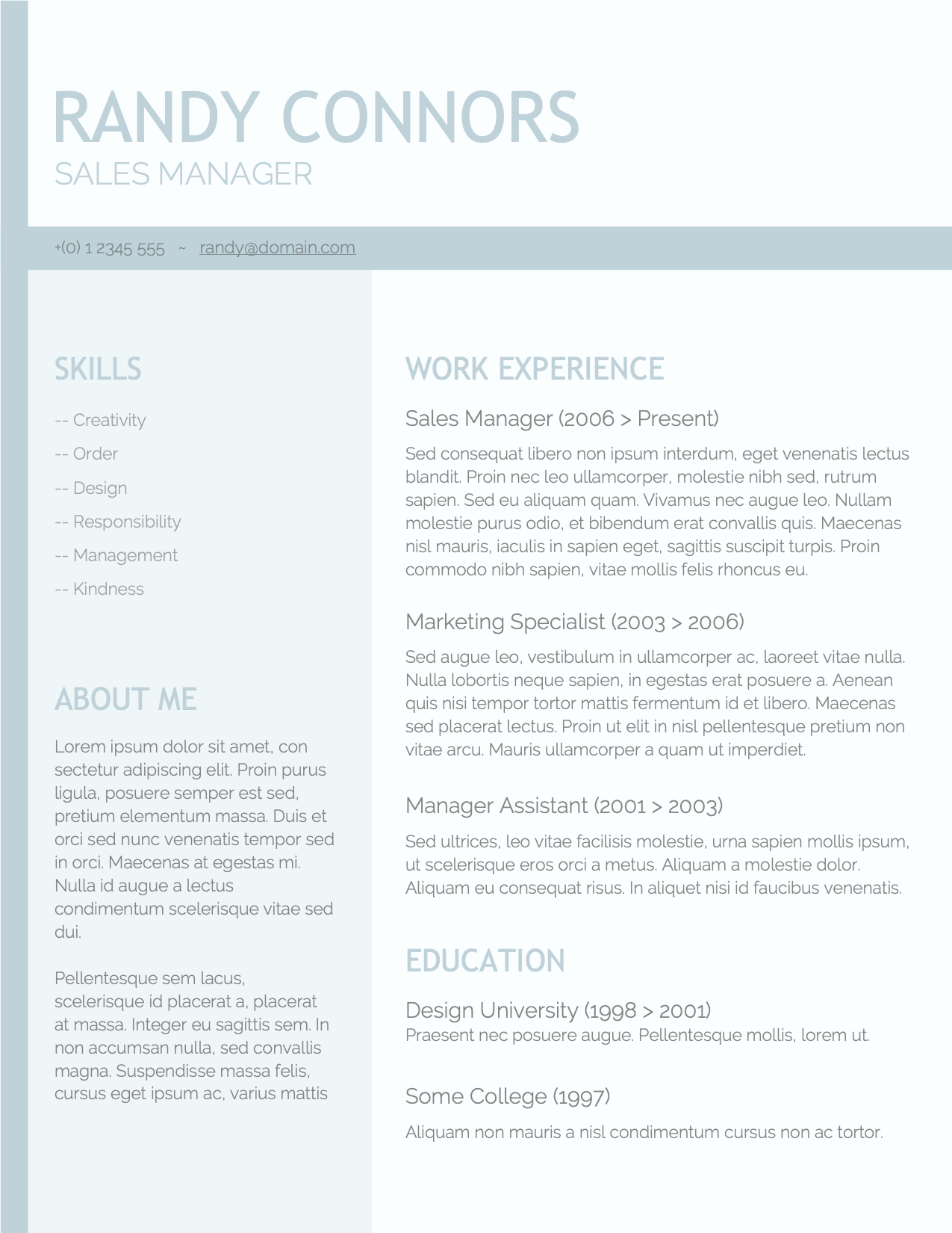 CV Template Option 8