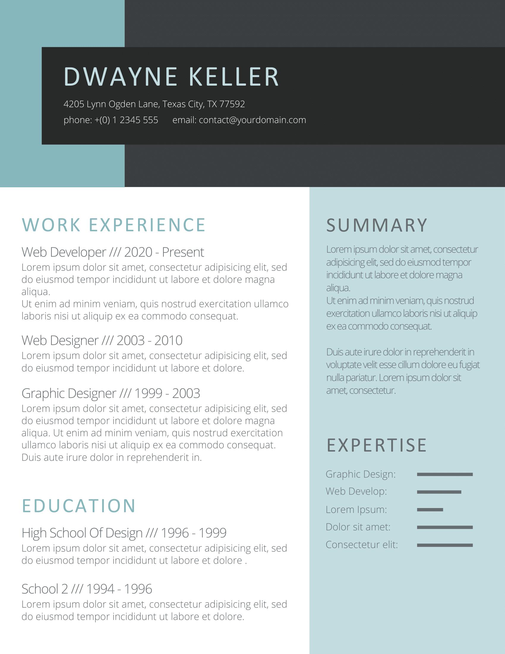 CV Template Option 9