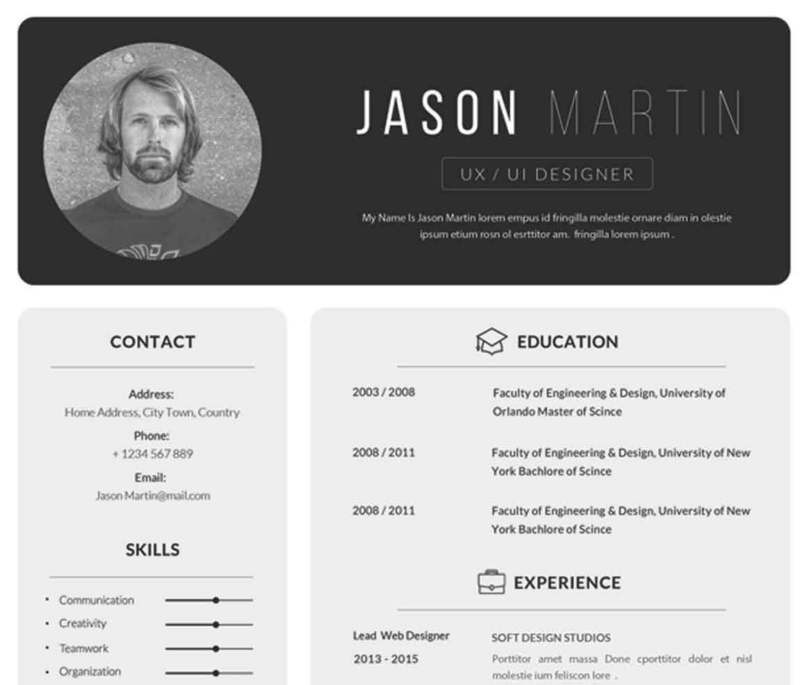 CV Template Sample Photo