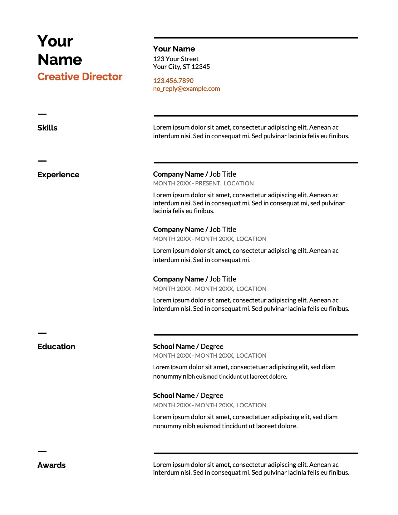 Swiss Google Docs Resume Template